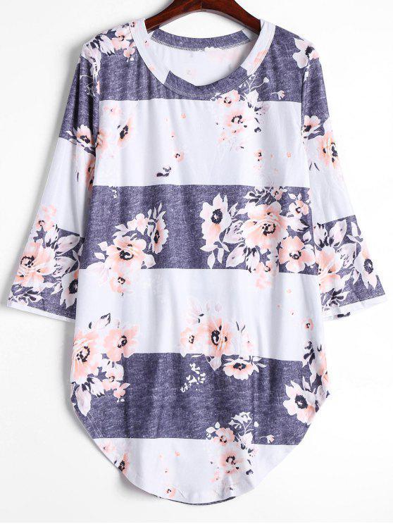 بلوزة طويلة مزينة بأزهار - رمادي أبيض S