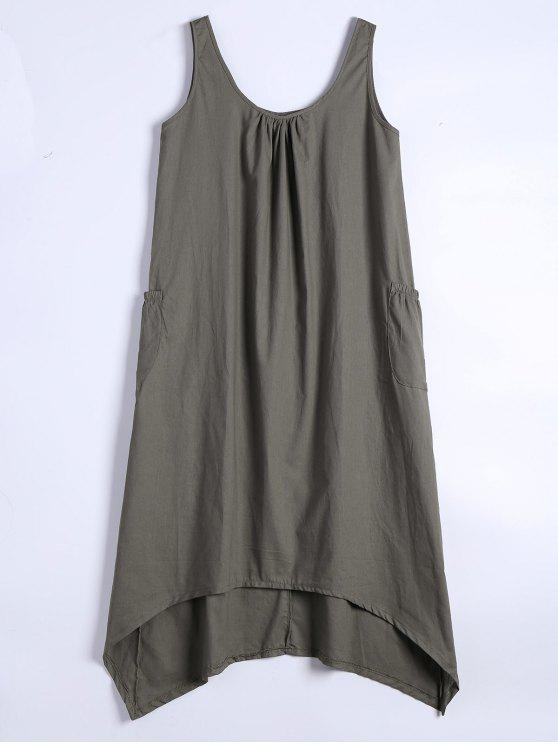 unique U Neck Sleeveless Asymmetric Dress - ARMY GREEN S
