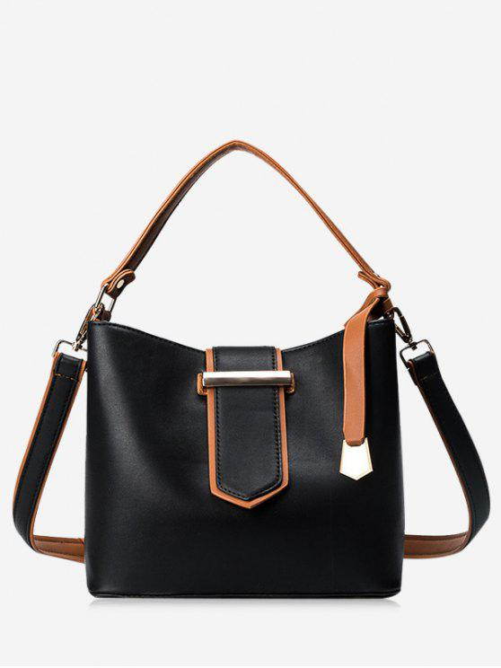 hot Colour Block Metal Embellished Tote Bag - BLACK