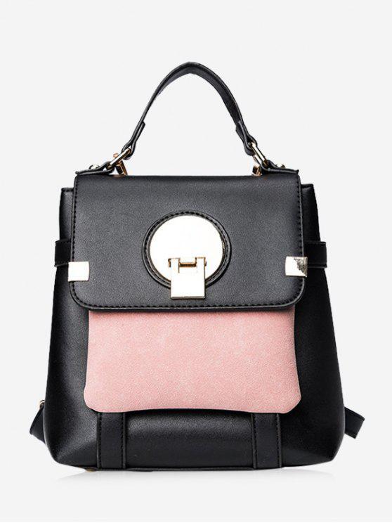 unique Color Block Metal Embellished Backpack - BLACK