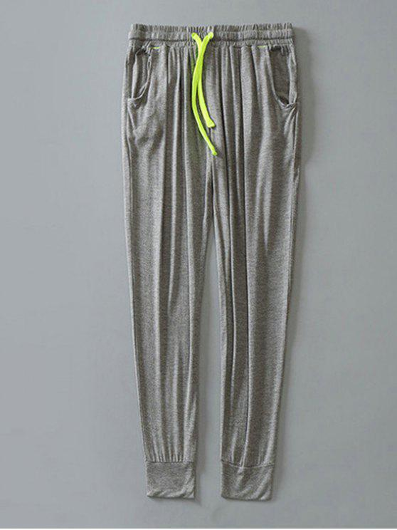 buy Contrast Drawstring Sweatpants - LIGHT GRAY XL