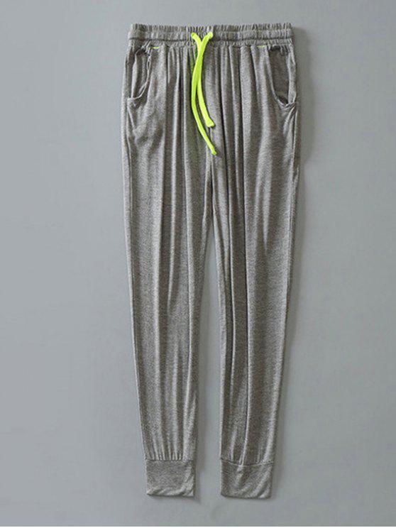 womens Contrast Drawstring Sweatpants - LIGHT GRAY L