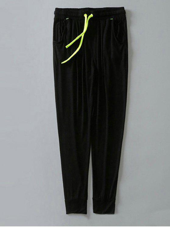 hot Contrast Drawstring Sweatpants - BLACK L
