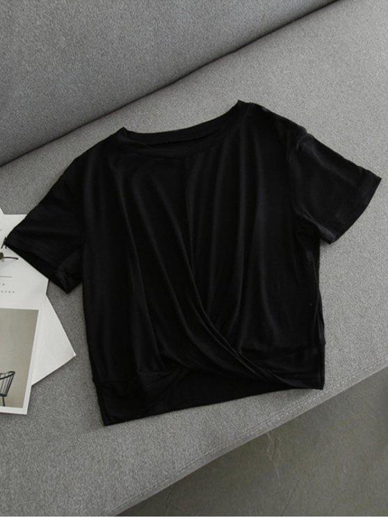Crop T-Shirt mit Knoten - Schwarz L