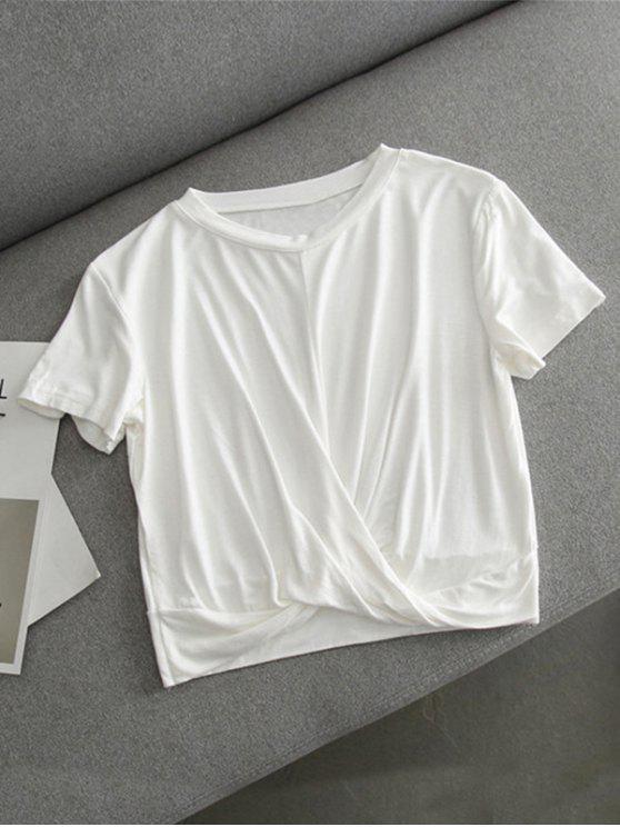 Crop T-Shirt mit Knoten - Weiß M
