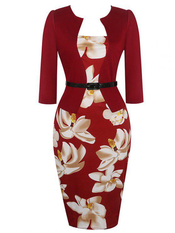 فستان رصاص طباعة الأزهار - نبيذ أحمر 2XL