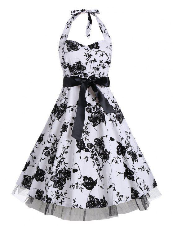 blumen halter weinlese ein linie kleid schwarz kleider. Black Bedroom Furniture Sets. Home Design Ideas