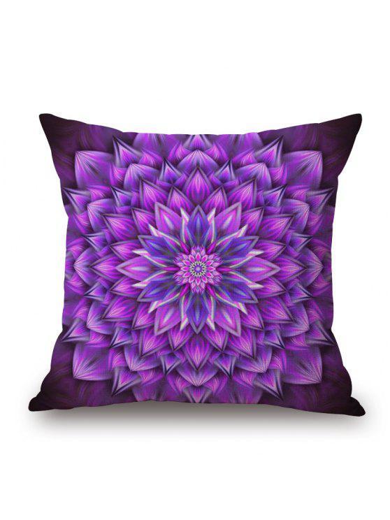 الأزهار ماندالا طباعة الكتان أريكة وسادة - أرجواني W17.5 INCH * L17.5 INCH