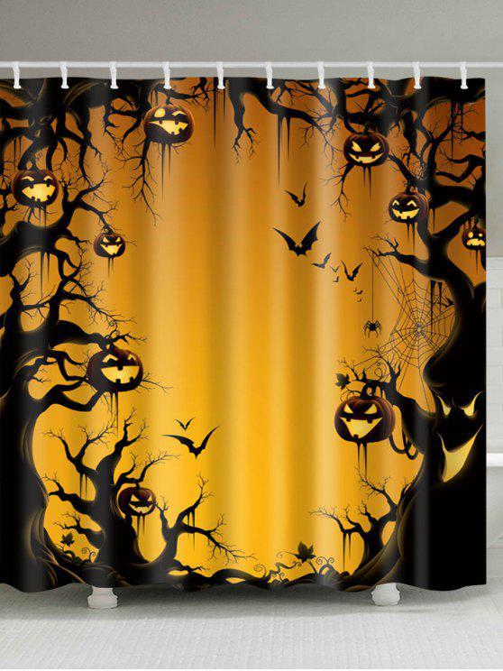 ستائر الحمام هالوين طباعة الشجرة واليقطين بقماش صامد للماء - لؤلؤة برتقال ذهبي W59 بوصة * L71 بوصة