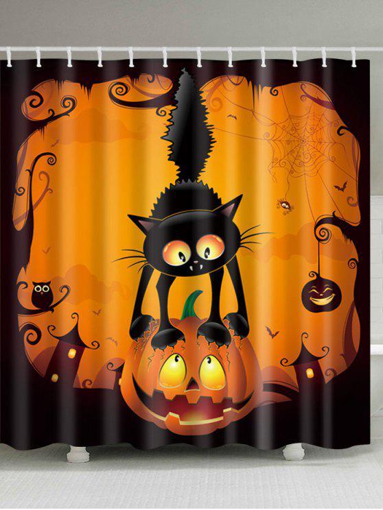 هالوين اليقطين القط طباعة ماء النسيج دش الستار - مزيج ملون W71 بوصة * L71 بوصة
