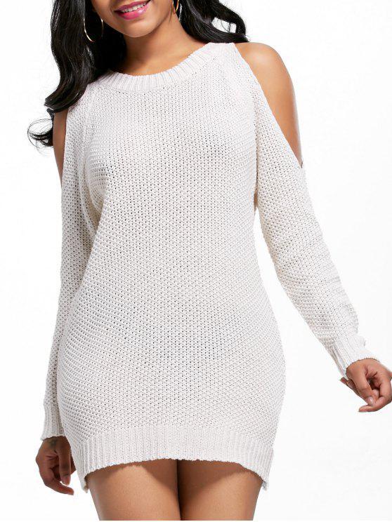 مفتوحة الكتف البسيطة سترة سترة اللباس - أبيض فاتح حجم واحد