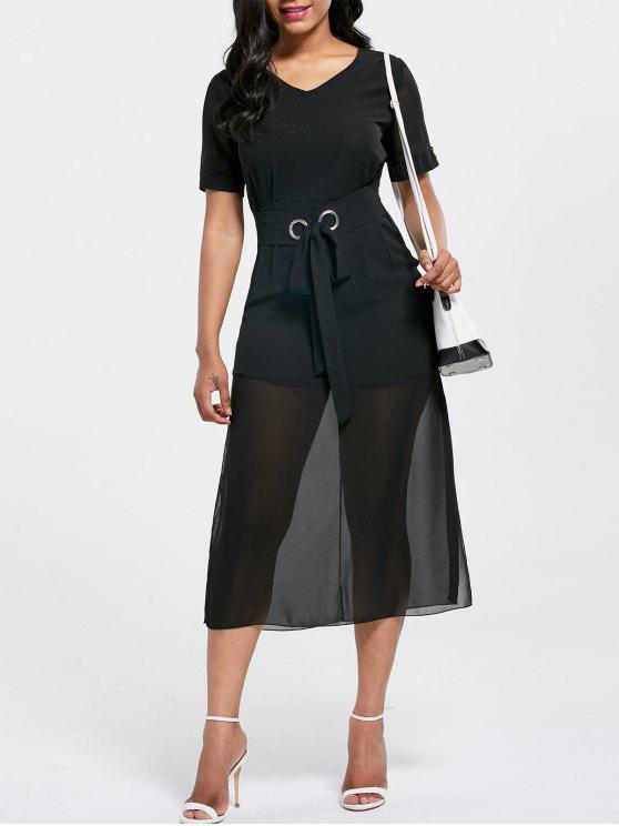 الخامس الرقبة مربوط ميدي فستان الشيفون - أسود 2XL