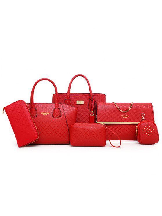 مجموعة الحقائب الكتف بنمط أرجيل بقطع ستة - أحمر