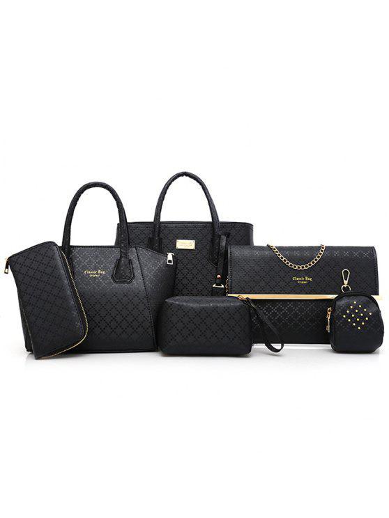 مجموعة الحقائب الكتف بنمط أرجيل بقطع ستة - أسود