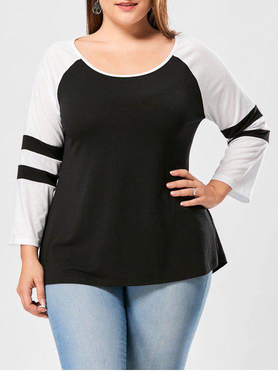 Camiseta de manga larga con dos tonos - NEGRO + BLANCO 4XL