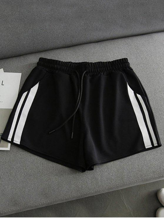 chic Side Striped Sports Shorts - BLACK L