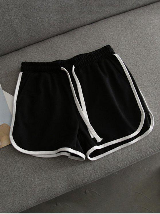 women's Contrast Trim Running Shorts - BLACK M