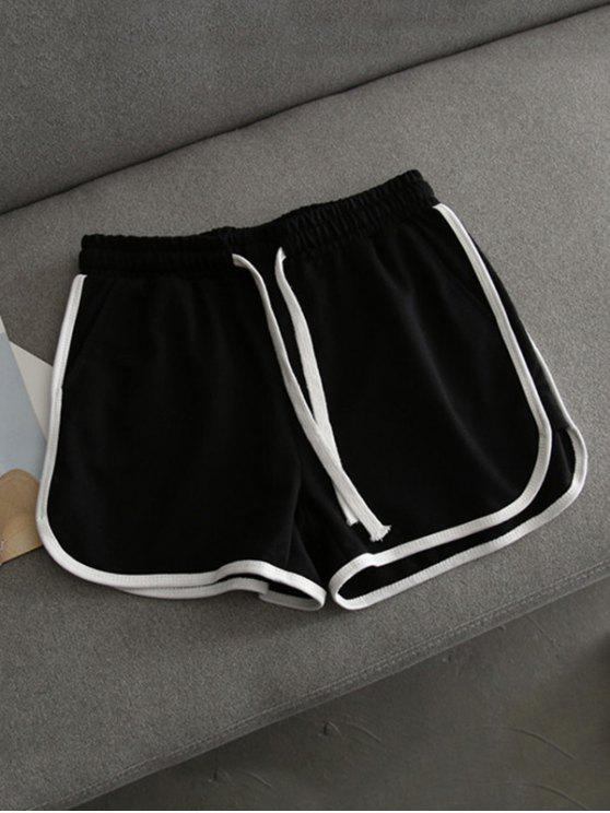 ladies Contrast Trim Running Shorts - BLACK S