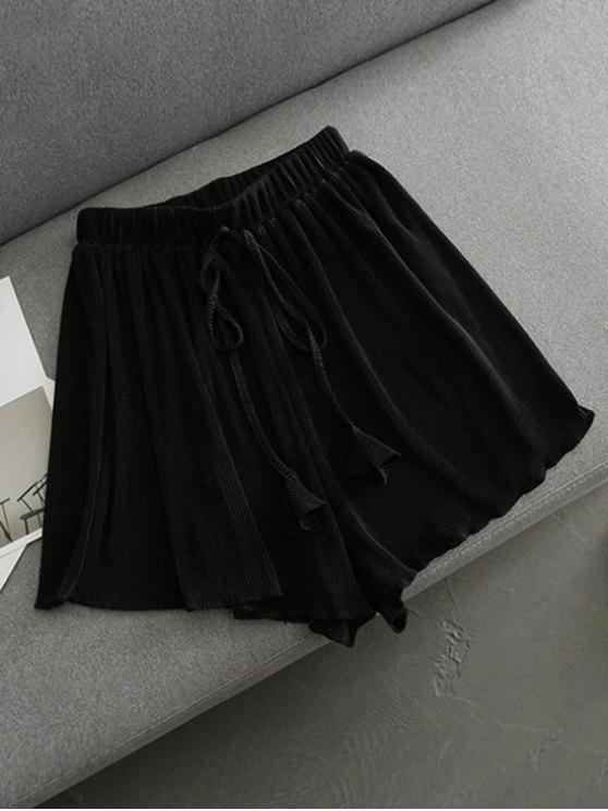 sale Pleated Cover-Up Shorts - BLACK ONE SIZE