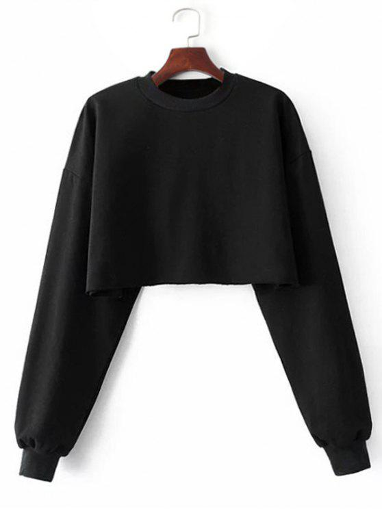 outfit Sporty Cropped Sweatshirt - BLACK ONE SIZE