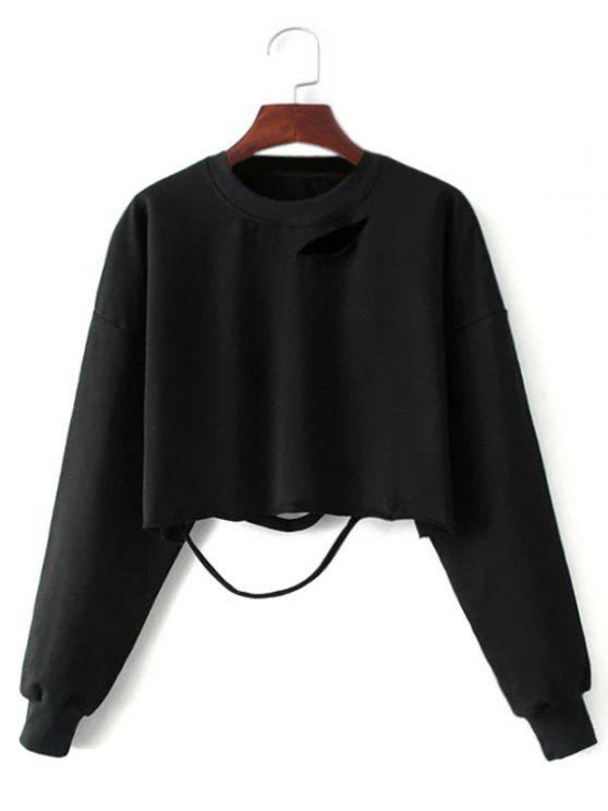 latest Ripped Cropped Sweatshirt - BLACK ONE SIZE