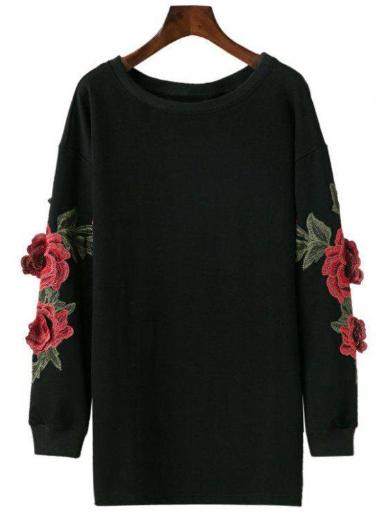 Camiseta del Applique del palangre - Negro S