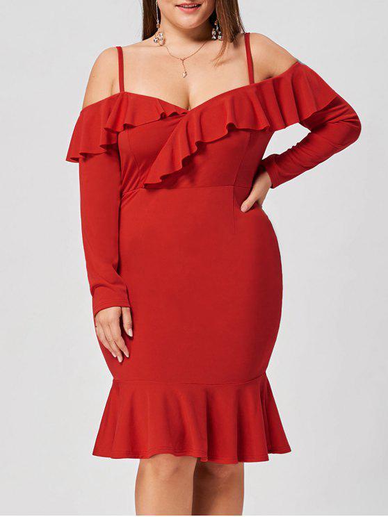فستان مكشوف الكتفين ومزين بكشكشة - أحمر 4XL