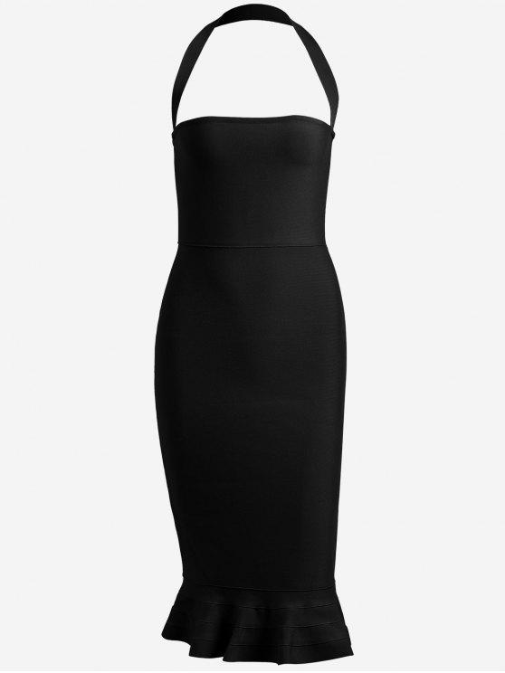 fancy Halter Fitted Bandage Dress - BLACK M