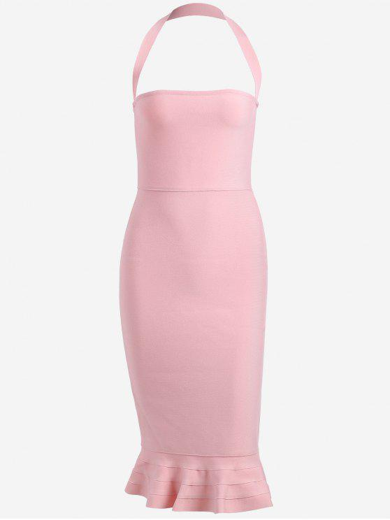affordable Halter Fitted Bandage Dress - PINK M