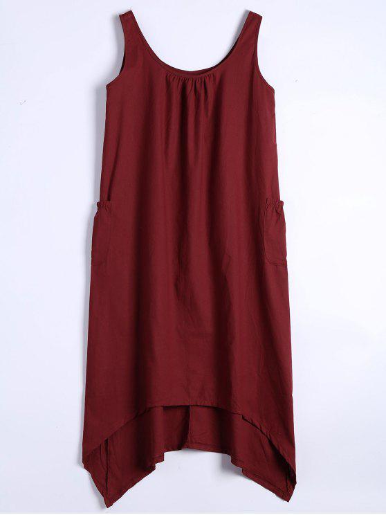 فستان غير متماثل بلا أكمام الرقبة - أحمر غامق M