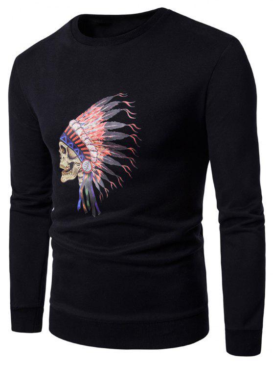 shop Crew Neck Skull Chief Print Fleece Sweatshirt - BLACK M