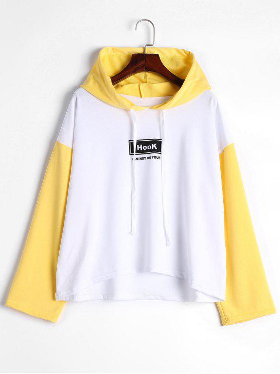 سويت شيرت بألوان متباينة وكتابة على الصدر مع أكتاف ساقطة وغطاء للرأس - الأصفر M