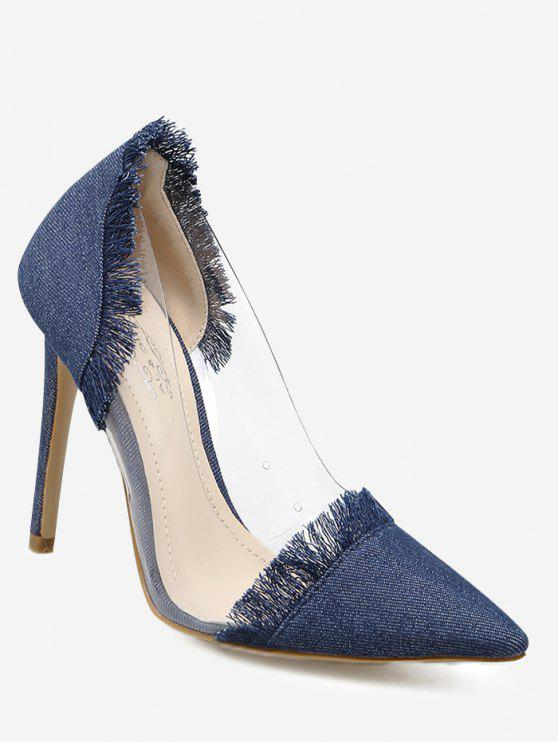 Stiletto Heel Fringe Denim Pumps - Azul Escuro 37