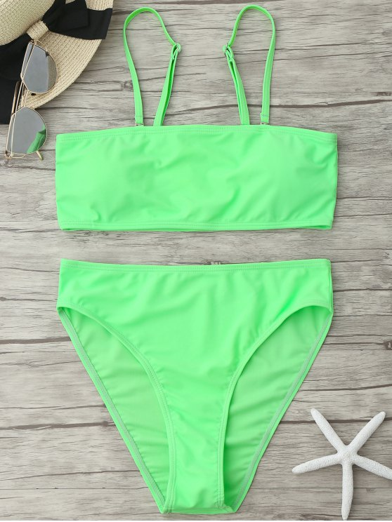 womens Padded High Cut Bandeau Bikini Set - NEON GREEN L