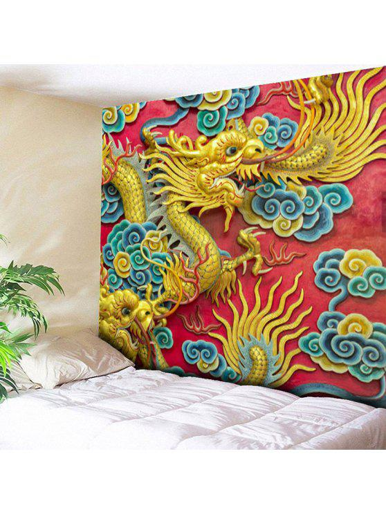 2018 Wall Hanging Chinese Dragon Print Tapestry In YELLOW W79 INCH ...