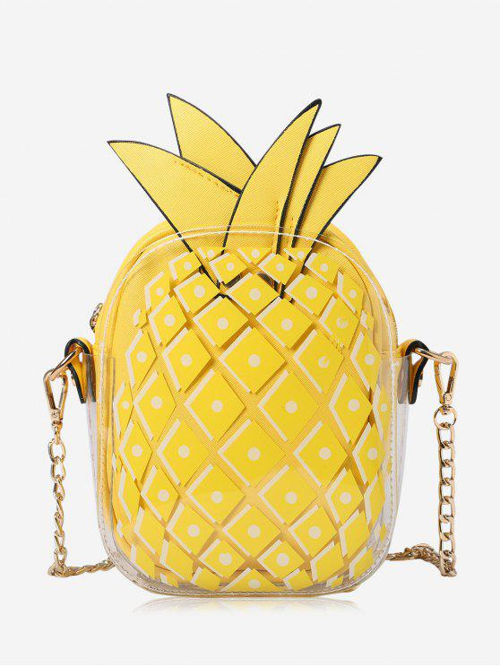 buy Chain Pineapple Shape Crossbody Bag - YELLOW