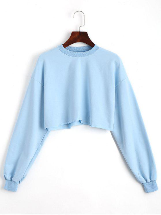shop Sporty Cropped Sweatshirt - SKY BLUE ONE SIZE