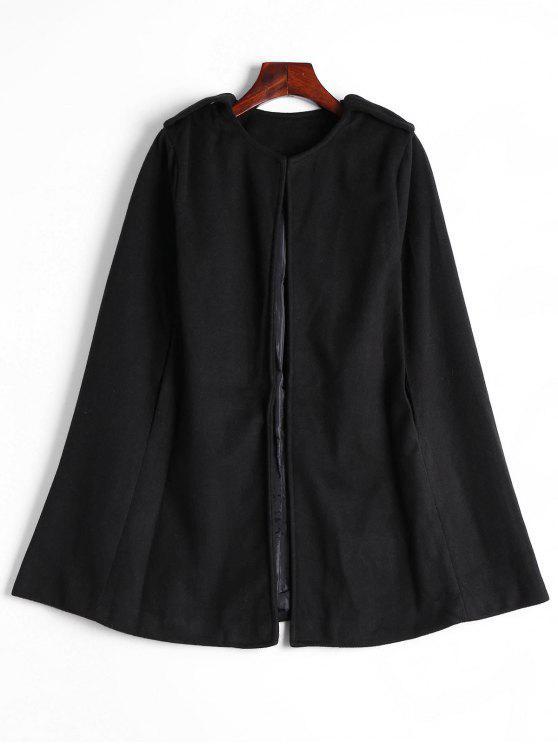 hot Plain Cape Coat - BLACK S