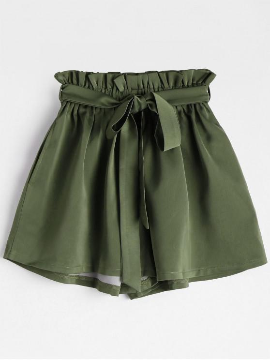Gefaltete Shorts mit Gürtel und hoher Taille - Armeegrün Eine Größe