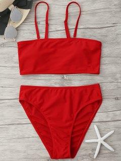 Padded High Cut Bandeau Bikini Set - Red L