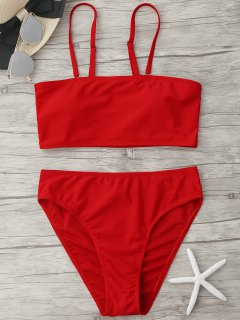 Padded High Cut Bandeau Bikini Set - Red S