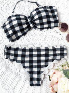Scalloped Checked Bandeau Bikini - Plaid L