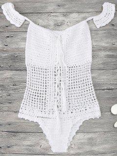 Off Shoulder Crochet One Piece Swimwear - White