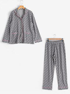 Loungewear Heart Pattern Shirt With Pants - Black M