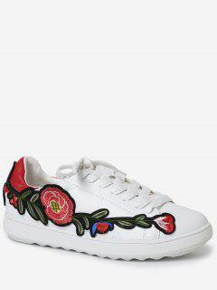 Faux Leather Floral Embroidery Sneakers - Red 38