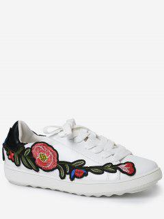 Faux Leather Floral Embroidery Sneakers - Black 38