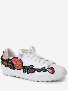 Faux Leather Floral Embroidery Sneakers - Pink 38