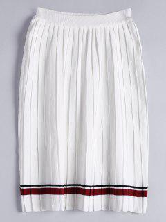 Falda Plisada De Punto A Rayas De Cintura Alta - Blanco