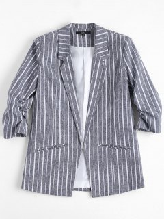 Gathered Sleeve Stripes Blazer - Stripe S