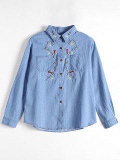 Chemise De Poche Patée Boutonnée Boutonnée - Bleu Clair S